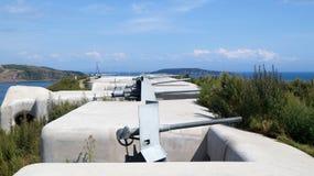 Battery number 375 `Novosiltsevskaya`. Island Russky, Primorsky Territory. Vladivostok fortress stock photos