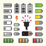Battery pack icons in pixel art style Stock Photography