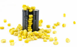 Battery pack with yellow grains of corn Royalty Free Stock Images