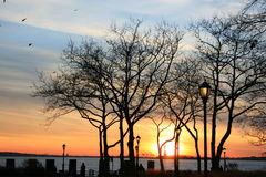 Battery Park. Statue of the Liberty, at the Sunset, from Battery Park, New York City Stock Photos