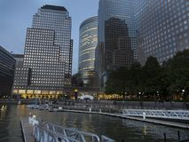 Battery Park City Esplanade Manhattan. New York by night. Tall buildings Financial District Royalty Free Stock Photos
