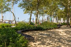 Battery Park City, planned community on the west side of the southern tip of the island of Manhattan. Stock Image
