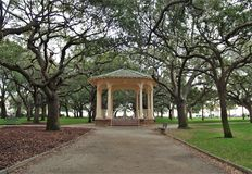Battery Park Gazebo. A large gazebo in the center of Battery Park, a waterfront park in downtown Charleston, South Carolina along the Cooper and Ashley Rivers stock photos