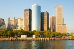 Battery Park and the Lower Manhattan skyline in New York Royalty Free Stock Photography