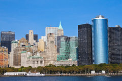Battery Park and Skyline of Manhattan, NY Royalty Free Stock Photo