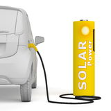 Battery Petrol Station-Solar Power fuels an E-Car. Alternative energy green power - a solar battery as a fuel pump fuels an E-Car - back view, square aspect Royalty Free Stock Image