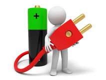 Battery and plug. Battery,plug,a man carrying a plug , which connecting a battery Stock Photos