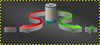 Battery and plus minus colored arrows at dark background Stock Image