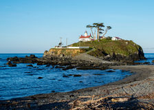 Battery Point Lighthouse. In Crescent City, California, USA, during a low tide, in the early morning royalty free stock images