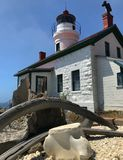Battery Point lighthouse whale bone stock photo
