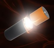 Battery power. Battery internal power and background Royalty Free Stock Photo