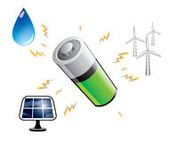 Battery power accumulation from renewable sources Stock Photo
