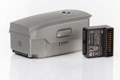 Battery and power bank adaptor close-up. Mavic pro 2 kit element stock image