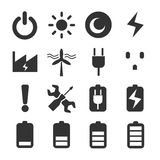 Battery Power Icon Set. Battery Power sign and symbol Icon Set Stock Photography