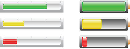 Battery or power level indicicators Royalty Free Stock Image