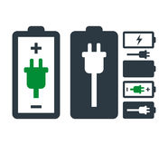 Battery with Power Plug Icon Set Royalty Free Stock Images