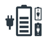 Battery with Power Plug Icon Set Royalty Free Stock Image
