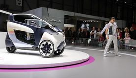Battery-powered electric i-Road Toyota concept car Royalty Free Stock Photo