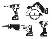 Battery powered tools icons. Four Cordless Battery powered tools black and white linear icons, including circular saw, drill, power driver, reciprocating saw stock illustration