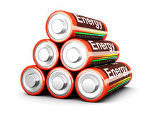 Battery Pyramid. 3D rendered Illustration. Isolated on white. AA Batteries Stock Photo
