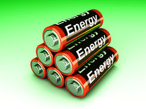 Battery Pyramid. 3D rendered Illustration. A pyramid of AA Batteries Stock Image