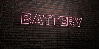 BATTERY -Realistic Neon Sign on Brick Wall background - 3D rendered royalty free stock image Stock Image
