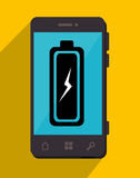 Battery recharging smartphone design Royalty Free Stock Photos