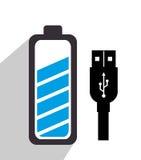 Battery recharging smartphone design Royalty Free Stock Photo