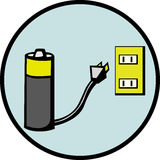 Battery recharging vector illustration Royalty Free Stock Photo