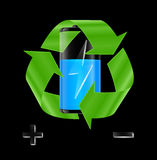 Battery with recycle sign Stock Photography
