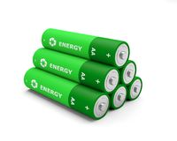 Battery recycling batteries rechargeable. 3D illustration Royalty Free Stock Photo