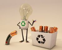 Battery recycling. Bulb character helps for battery recycling Stock Photos