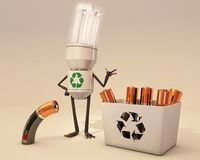 Battery recycling. Bulb character helps battery for recycling Stock Image