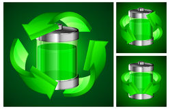 Battery recycling concept on green Stock Photos