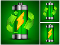 Battery recycling concept on green Stock Photography