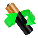 Battery Recycling Concept. Green Arrow Around Battery. 3d Render Stock Images