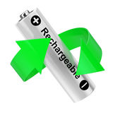 Battery Recycling Concept. Green Arrow Around Rechargeable Batte Royalty Free Stock Images