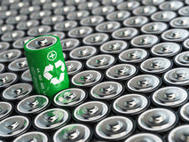 Battery recycling concept. Green energy, Background from battaries Stock Photos