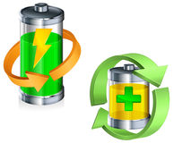 Battery recycling concept on white Royalty Free Stock Photos