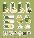 Battery recycling icons set Royalty Free Stock Photos