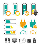 Battery recycling pictograms set. Battery recycling pictograms. Editable vector set. EPS 8 Royalty Free Stock Photos