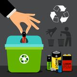 Battery recycling illustration. Battery recycling vector illustration. Man hand putting a battery in recycle container Royalty Free Stock Image