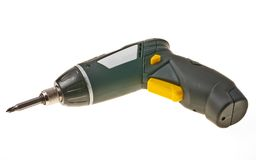 Battery screwdriver. Isolated over white background Stock Photos