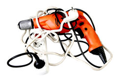 Battery screwdriver or drill. Isolated over white background Stock Photo