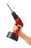 Battery screwdriver in hand Stock Image