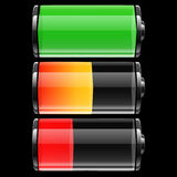 Battery set with color levels Stock Photos