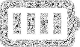 Battery shaped word cloud Stock Images