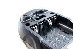 Battery socket size aaa alkaline on isolate. Battery socket of walky talky size aaa alkaline on isolate background Stock Photos