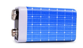 Battery from the solar panel  isolated on white background. The concept of sustainable resources Stock Photo