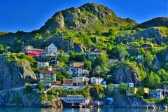 The Battery, St John`s, Newfoundland, Canada. An HDR image of The Battery neighbourhood at sunrise, St John`s harbour, Newfoundland, Canada Royalty Free Stock Image